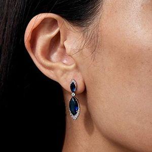 New Nadri Sapphire marquise CZ Pave drop earrings